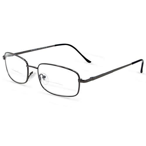 In Style Eyes Enda Italian Design Middle Bifocal Reading Glasses, Metal Frames, Pewter, 3.0x