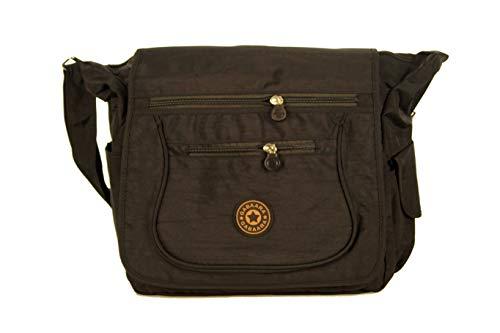 Gabaara Damen Schultertasche Nylon mit Überschlag Umhängetasche in 5 Farben Leicht mit Viele Fächern Sporttasche (Schwarz)