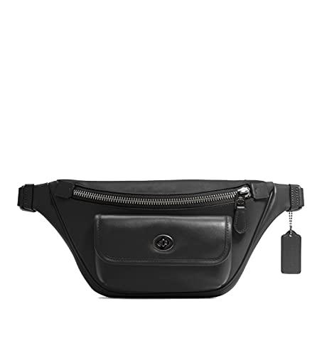 COACH Heritage Leather Belt Bag Waist Pack - #C1277 - Black
