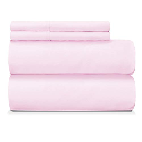 Nisaki Cotton-Sateen Sheets Set Orchid Pink, 100% Long Staple Cotton King-Bed-Sheet 4piece Bedding-Sets, Breathable Orchid Pink Bed Sheet Set Fits Upto 15inch (100% Cotton Deep Pocket Sheets)