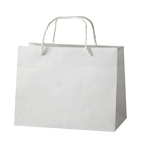 手提げ紙袋 ギフト・ラッピングバッグ 白 [10枚] マチ広めで結婚式のブライダルバッグやケーキの袋としても使える 高級ペーパーバック L-26