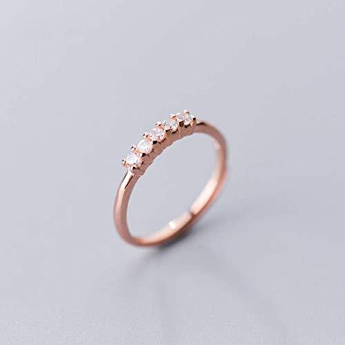 WOZUIMEI S925 Anillo de Plata Femenino Estilo Coreano Fila de Diamantes Anillo Abierto Anillo de Junta de Temperamento Dulceoro rosa, ajustable