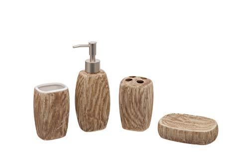 Juego de baño de 4 piezas, color marrón, ovalado, dispensador de jabón/loción, soporte para cepillos de dientes, vaso, jabonera