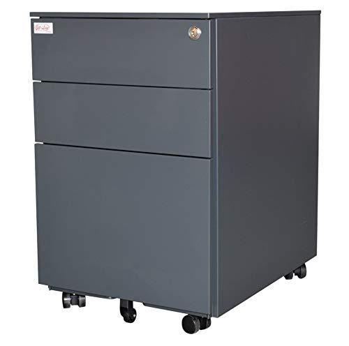 Jet-line Rollcontainer Metall Anthrazit Büro Ordnungssystem Abschließbar DREI Schubladen Zeitloses Design Hängeregistratur Aufbewahrung Inklusive Schlüssel Homeoffice Büromöbel