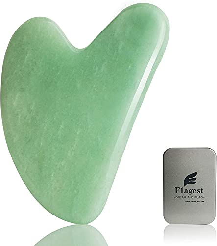 Gua Sha Facial Tool - Nature Jade Stone Guasha Massage Tool - Nature Jade Stone for Scraping Facial and SPA Acupuncture Therapy - Heart Shape Jade Trigger Point Treatment on Face