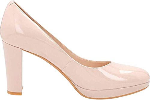 Clarks Women's Kendra Sienna Pump,Nude Patent Leather,US 9 M