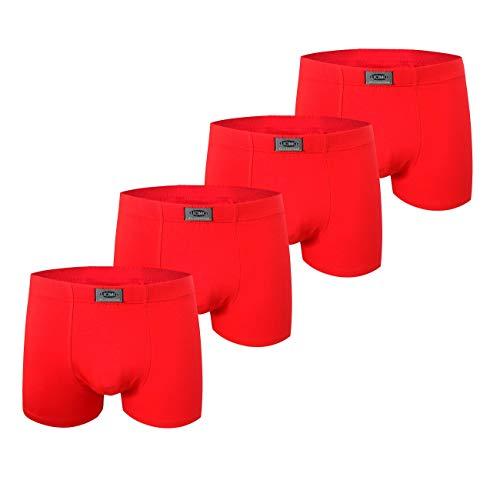 Calzoncillos bóxer navideños para hombre Ropa interior con algodón premium Frente grande y grande - Paquete especial de año nuevo de 4 paquetes de color rojo (1541-Christmas Collection, XXL)