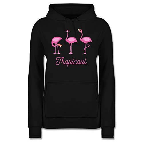 Vogel Zubehör Vögel Deko - Tropicool Flamingo Gang - L - Schwarz - Statement - JH001F - Damen Hoodie und Kapuzenpullover für Frauen