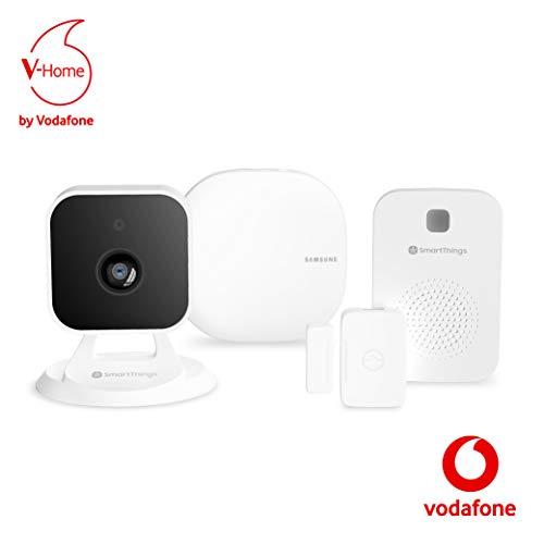 V-Home Safety Starter Kit by Vodafone - Smart Home Starterpaket inklusive Basisstation, Kamera, Sirene, Mehrzwecksensor und Service