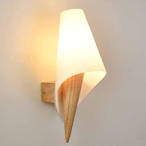 SXFYWYM Moderne led-wandlamp, minimalistisch, E27, creatieve massief houten wandlamp van glas voor nachtkastje spiegel