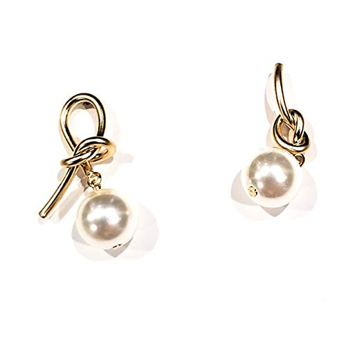 Eranzi Tied Up Pearl Earrings for Women K-Pop Asian Style Korean Drama Fashion Made in Korea for Party Dress and Wedding Premium Design for Girls and Ladies