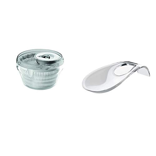 Guzzini Centrifuga Insalata Kitchen Active Design, Grigio Cielo, Diametro 28 x h18 cm & Poggiamestolo Kitchen Active Design, Trasparente, 24 x 11 x h4.5 cm