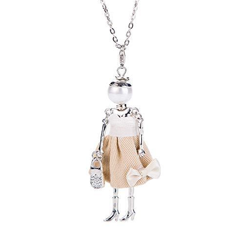 N-K Halskette für Frauen Nette Puppe Stil Pullover Anhänger Lange Halskette Schmuck Geschenk für Frauen Langlebig und Praktisch Stilvoll.