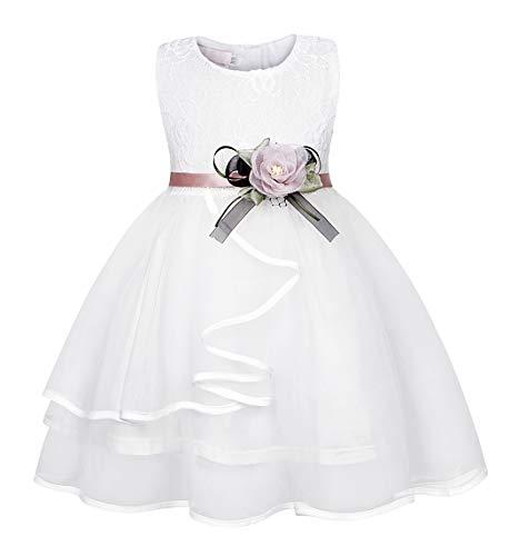 AmzBarley meisjesjurk met kant, voor feestjes, bruiloft, verjaardag, aankleding, bloemenmeisje