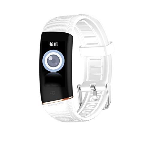 XUEXIU Muñeca Inteligente Temperatura Corporal Presión Arterial Monitor De Frecuencia De Ritmo Cardíaco para Android iOS Pulsera Inteligente Aptitud Adulto (Color : White)