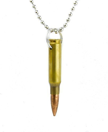 Round Designs Real Bullet Necklace with 23 Inch Chain