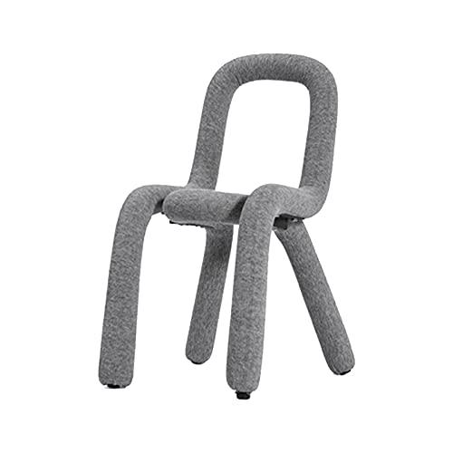 HYDT Silla de comedor para comedor de cocina, tela de terciopelo y silla geométrica suave, silla de sala de estar (gris)