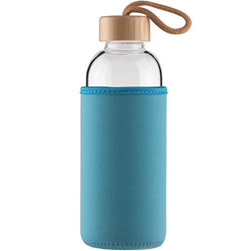Cleesmil Botella de Agua de Cristal 500 ml Botella de Agua de Vidrio Deportiva con Funda de Neopreno y Tapa de Bambú sin BPA (Azul Claro)