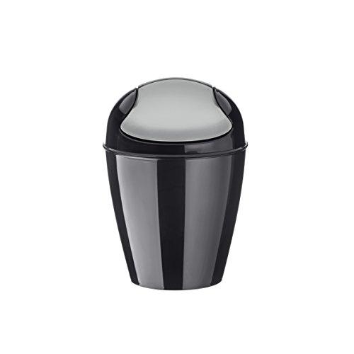 koziol Schwingdeckeleimer 2 L Del XS,  Kunststoff, solid schwarz, 16,5 x 16,5 x 24 cm