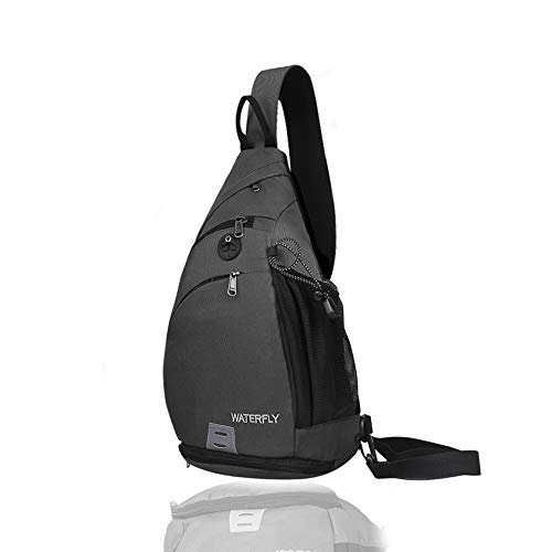 Sling Backpack WATERFLY Sling Bag Small Crossbody Daypack Casual Backpack Chest Bag Rucksack for Men & Women Outdoor Cycling Hiking Travel (dark grey)