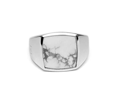 Sprezzi Fashion zegelring heren zilver van massief 925 sterling zilver vierkant glanzend met steen |minimalistisch moderne mannenring sieraden uit Duitsland