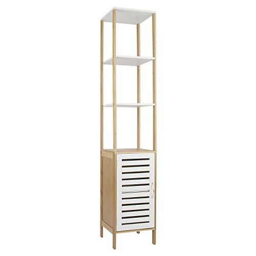 Hochschrank mit Tür und Regalfächern Linie Bambus Badezimmerschrank Schrank, weiß braun, 159,6 x 30 x 30 cm