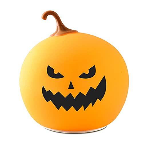 Halloween-Pompoenverlichting, Schattige Siliconen Pompoen Nachtlampje, 7 Kleur Veranderende Led Touch Control…