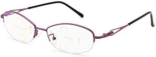 Gafas de lectura Multifocal progresiva ordenador gafas de lectura Multi Focus Gafas de aleación de material de lejos y de cerca de doble uso de los lectores de las lentes for las mujeres vasos