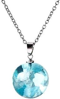 Global Felicity - Collana con ciondolo a forma di nuvola, in resina blu cielo
