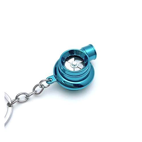 Djujiabh Llavero Nuevo Mini Turbo TurboCompresor Llavero Spinning Turbine LED Llavero Llavero Anillo Keyfob Regalos Bolsas de Coche Accesorios (Color : Blue)
