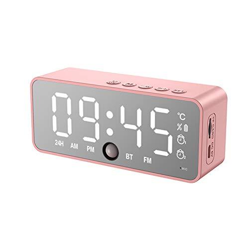 LANGTAO Reloj De Alarma De Espejo LED, Altavoz Bluetooth Digital Snooze Digital Reloj De Mesa, Sensor De Cuerpo Relojes De Alojamiento, Tiempo Electrónico Temperatura Mostrar Reloj De Inicio,Rosado