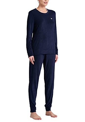 Schiesser Damen Frottee Anzug Lang Pyjamaset, dunkelblau, 38
