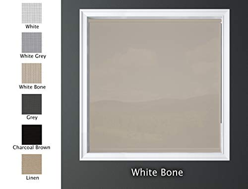 """Luxr Blinds Custom-Made Solar Light Filtering Roller Window Shades 1%, 5% & 15% Transparency Indoor, Outdoor Size 31"""" W X 60"""" L & White Bone Color"""