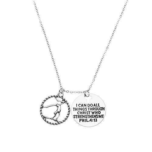 Kollektion Infinity Gymnastics I Can Do All Things Through Christ Who Strengthens Halskette, Gymnastik Schmuck – Gymnast Halskette für Gymnast