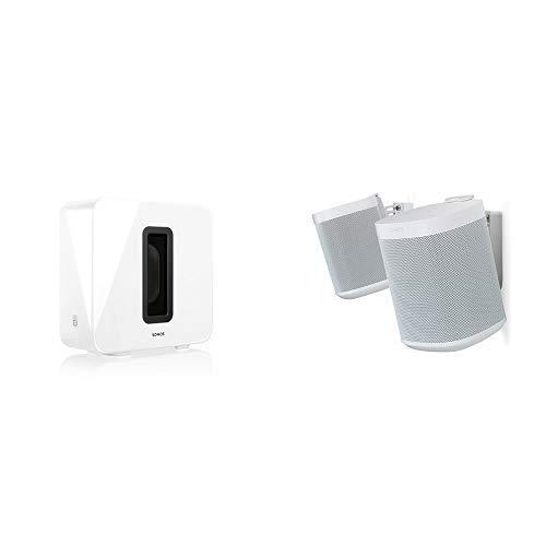Sonos Sub, weiß – Leistungsstarker WLAN Subwoofer für dynamische & tiefe Bässe für alle Sonos Speaker & Flexson Wandhalterung für Sonos One und Sonos PLAY:1 - Paar Weiß
