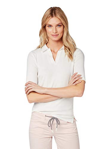 TOM TAILOR Damen 1010431 Poloshirt, Elfenbein (Whisper White 10315), XXX-Large