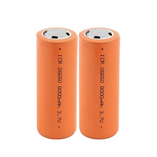 MGLQSB 26650 Batería De Iones De Litio De 3.7v 8000mah, Batería Recargable BateríAs Seguras De Uso Industrial Litio Adecuado para Batería De Linterna 2PCS