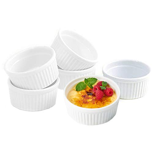 K BASIX 4.5 Oz. Porcelain Ramekins, Pudding Cups | Dipping Bowls | Souffle Dishes for Creme Brulee | Classic Style White Ramekins for Baking -Set of 6 - Oven Safe