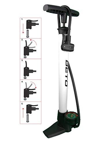 P4B | Bomba de Alta presión para Bicicleta Blanco con manómetro Redondo | Cabezal Dual Adecuado para Todas Las válvulas (Dunlop, Francesa, Schrader) | Presión Nominal = 6 bar/90 PSI | Bomba de pie