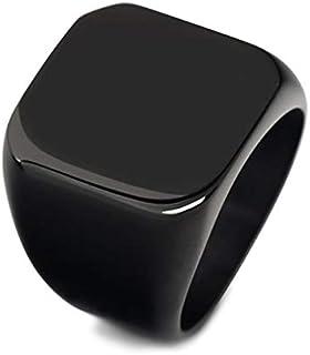 خاتم مربع لامع للرجال من يو اس ايه مضاد للصدأ ومقاوم للماء، مقاس – أسود