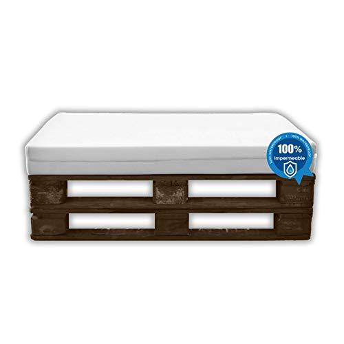 MICAMAMELLAMA Cojines para palets Asiento Sofa de Palets Exterior e Interior - Funda Náutica Blanco Impermeable - Espuma HR Alta Densidad - Grosor 12cm - Euro Palets