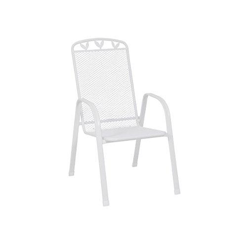 greemotion Chaise de Jardin Toulouse en Acier Blancn avec Dossier Haut, Fauteuil de Jardin Terrasse Empilable, d'Extérieur 55 x 97 x 73 cm Charge max. 110 kg