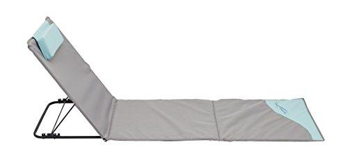Meerweh La Mer Mal Chaise Longue, Tapis de Plage XXL avec Dossier, Gris, 200 x 60 cm, 74035