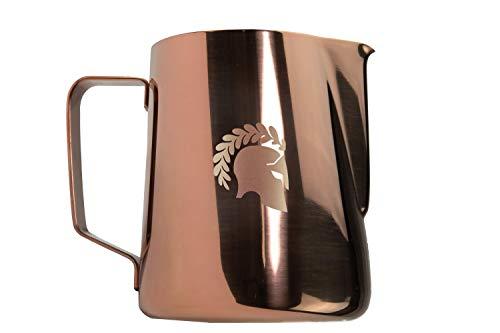 BaristaSoul Latte Art Milchkännchen 600ml Profi Kanne Edelstahl Milchkanne zum Aufschäumen für Cappuccino und Latte Macchiato rostfrei Einfach zu reinigen Spülmaschinen geeignet (Kupfer)