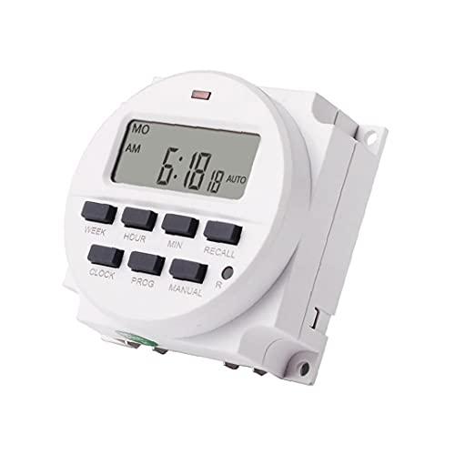 fregthf Interruptor Timer-2 TM618N LCD de alimentación Inteligente Temporizador programable Interruptor de relé Blanca