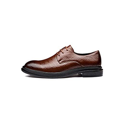 JUFENGYAO Business Oxford for Männer Schematic Schuhe schnüren Sich Oben Art Mikrofaser Leder Anti Slip Blockabsatz Split Joint Impression Shoelaces Spitzschuh-Partei Plaid