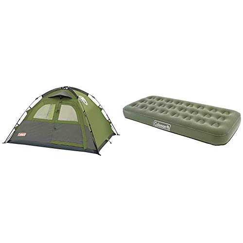 Coleman Instant 5 Dome Tent - Green, Five Person & Airbed Comfort Bed Single, Camping Mat, Flocked Air Bed, Inflatable Air Mattress, Blow Up Bed, 188 x 82 x 22 cm