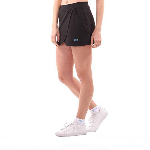 Sportkind Mädchen & Damen Tennis Skort mit Taschen in Wickeloptik, Hockey, Sport Rock mit Innenhose, atmungsaktiv, UV-Schutz, schwarz, Gr. 134