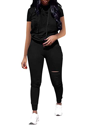 Women Casual 2 Piece Sport Outfits for Women, Short Sleeve Ripped Hole Pullover Hoodie Sweatpants Set Jumpsuits (Black, M)