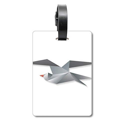 Etiqueta geométrica Abstracta con diseño de Cuervo de Origami, para Maleta de Crucero, Etiqueta de identificación de turista